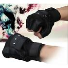 Men Driving Gloves Soft Sheep Leather Motorcycle Biker Fingerless Warm Gloves
