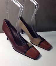 Desmo Square Toe Tricolor Leather Heel, Size 9