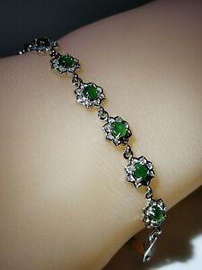 Icy Ice Green Burmese Jadeite Jade Bracelet /冰种阳绿缅甸翡翠手链