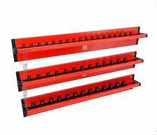 Mechanics Time Saver Vertical 3pc 1/4 3/8 1/2 dr Lock A Socket Magnetic Rail Set