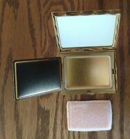 Vintage Volupte gold tone compact, rhinestone bird, mirror, felt case, no powder