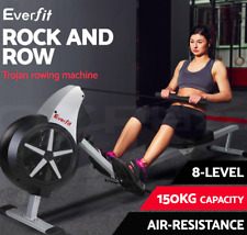 LCD Rowing Exercise Machine Air Resistance Wheel glide rail 8 levels Fitness