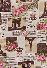 Fat Quarter Sepia Paris Scenes Music And Roses Linen Cotton Mix Quilting Fabric