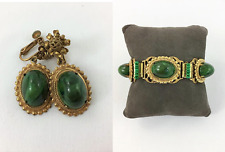Miriam Haskell Green Cabochon Antiqued Gold Plated Vintage Bracelet Earrings Set
