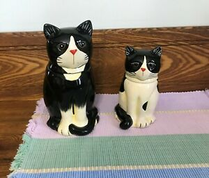 L Spivey 2004 Cat Canisters Set of 2 Linda Spivey