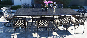 Elisabeth 11 Piece Cast Aluminum Patio Dining Set With St Austine Chairs
