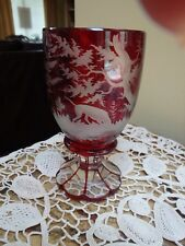 Antique 19c  Egermann Bohemian Engraved Ruby Glass Souvenir Dog & Rabbit Themed