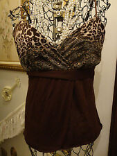 MAURICES Brown LEOPARD WOOD ACCENT SPAGHETTI STRAP WRAP WOMENS SHIRT-L