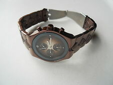 Fossil chronograph men's dress bronze watch.quartz,battery & w resistant.FS-4283
