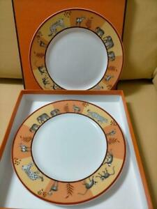 HERMES Africa pair of plates orange boxed used discontinued