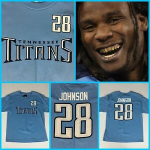 NWT Kids CHRIS JOHNSON Tennessee Titans Youth Reebok Jersey-Style Tee-Shirt Lg.
