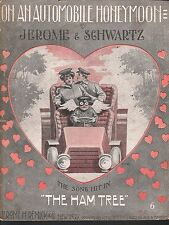 On An Automobile Honeymoon 1905 Large Format Sheet Music