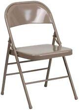 Flash Furniture HERCULES Series Triple Braced Beige Metal Folding Chair New