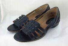 bde9a806fcfa I Love Comfort Size 7 Hattie Black Leather Sandals Flats Open Toe Shoes  Cushion