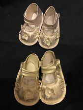Christening Shoes Baby Girls Babies Ivory White Satin Sparkling Flowers 0-12 Mth