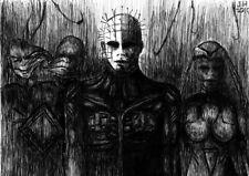 "Pinhead Hellraiser 8.5"" x 11"" ink drawing horror halloween"