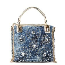 Denim Jean Casual Women Handbags Designer Weaving Shoulder Bags Rhinestone decor