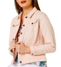 NEW Plus Size 16 18 20 10 12 14 Denim Jacket Women Jean Jackets Ladies Pink