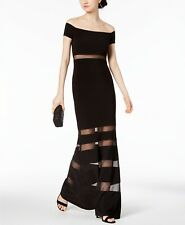 $350 XSCAPE WOMENS BLACK OFF-SHOULDER ILLUSION STRETCH FORMAL DRESS GOWN 4