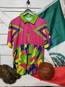 Mexico Verde / Pink Multi-Color Jorge Campos #1 Goalkeeper  Jersey Size L