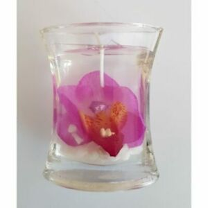 Purple Pink Orchid Glass Votive / Gel Candle, Boxed Gift Favour Decoration