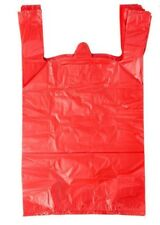 Red Plastic T Shirt Shopping Grocery Bags Handles Large 115x6x21 Lot 200