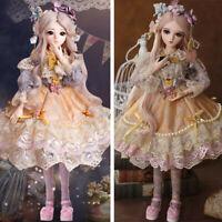 60CM BJD Doll Puppe 1/3 Mädchen Puppen mit Gesicht Make-up Perücken Kleidung Neu