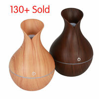 LED USB Wood Grain Ultrasonic Air Humidifier Room Aroma Essential Oil Diffuser