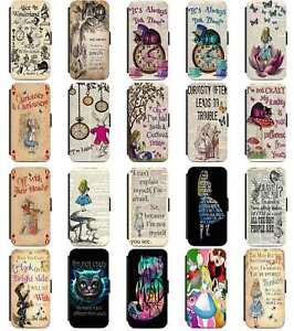Alice In Wonderland Mad Hatter Cheshire Flip Wallet Case Cover iPhone 8 X 11 12