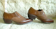 Vintage 80's Nine West Two-Tone Brown Leather/Suede Western Ankle Boots~Size 5.5