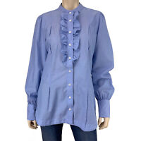Banana Republic Women's Blue Pinstripe Long Sleeve Button Down Shirt Size 14 EUC