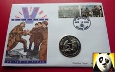 1995 TURKS AND CAICOS 5 Five Crowns VE-DAY United in Peace WWII PNC Coin Cover