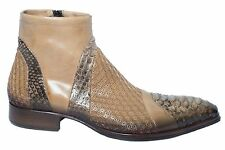 Jo Ghost 464m Italiam mens beige leather zip up ankle boots with piton