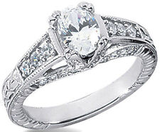 1.43 carat total 1 ct Oval Natural Diamond Solitaire 14k White Gold Ring H SI1