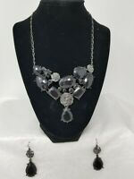 "VTG ""Avon"" necklace and pierced earring set, antiqued metal Black Faux Stones"