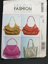 McCalls M5899 Sewing Pattern Fashion Accessories Hobo Ruffled Tote Purse Bag