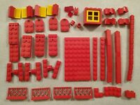 Mixed Bundle of Vintage Lego Red Blocks and Pieces Couplers Fences Saloon 1970s