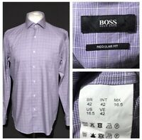 "HUGO BOSS Men's Shirt Purple Check 16.5"" 42 Cufflink 100% Cotton"