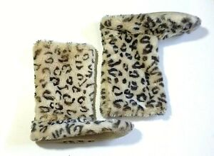 Target Women's Faux Fur Slipper Boots Size 9 - 10 Beige Black with Pink Inner