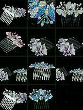 Butterfly hair comb blue/pink/purple diamanté wedding bridal prom occasions UK