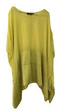 MAGGIE T Slit sleeve Sleeveless Yellow Sheer Silk shirt Tunic Top Blouse 14-18