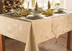 Gold Stag Christmas Tablecloths Xmas Various Sizes