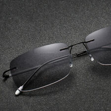Flexible Rimless Square Bifocal Reading Glasses Ultralight Gray Brown Magnifier
