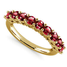 1.00 Ct Round Cut Engagement Ruby Eternity Ring 14K Solid Yellow Gold Size O