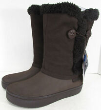Crocs Womens Modessa Synthetic Suede Button Boot Shoes, Espresso/Espresso, US 7