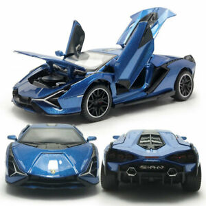 1/32 2019 Lamborghini Sian FKP 37 Model Car Diecast Toy Vehicle Sound Light Blue