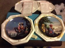 Precious Moments 2 Bible Story Christmas Plates Flight Into Egypt Followed Star
