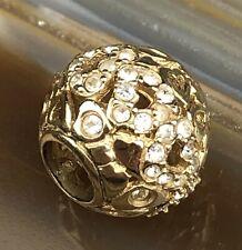 Signed ALE PANDORA 14k Gold Bracelet Pave Clear Stone Heart Ball Charm NR PJL