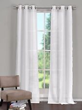 "Single (1) White Window Curtain Panel: Grommets, Textured, Semi-Sheer, 52""Wx84""L"