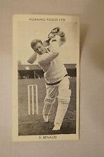 1953 - Vintage - Morning Foods Ltd. - Cricket Card - R. Benaud - New South Wales